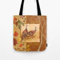 turkey Tote Bags featuring Wild Turkey by Edith Jackson-Designs