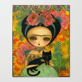Frida And Her Cat Canvas Print