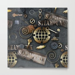 Mechanical steampunk grunge print. Metal Print