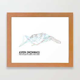 Aspen, CO - Snowmass - Minimalist Trail Map Framed Art Print