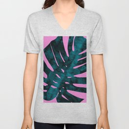 Composition tropical leaves XI Unisex V-Neck