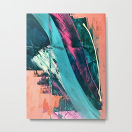 Wild [7]: a bold, colorful abstract mixed-media piece in teal, orange, neon blue, pink and white Metal Print
