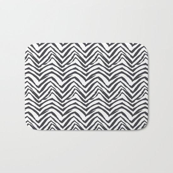 Zebra stripes minimal black and white modern pattern basic home dorm decor nursery Bath Mat