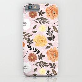 Cute floral Paint Autumn colors Light pink design iPhone Case