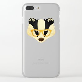 Hipster Badger: Gold Clear iPhone Case