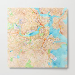 Boston watercolor map XL version Metal Print