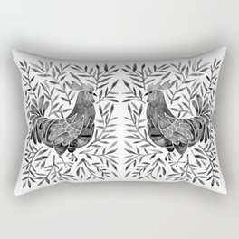 Le Coq – Watercolor Rooster with Black Leaves Rectangular Pillow