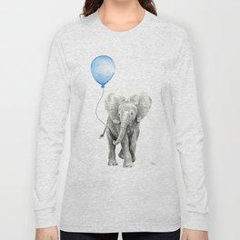 Baby Animal Elephant Watercolor Blue Balloon Baby Boy Nursery Room Decor Long Sleeve T-shirt