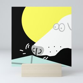 Dog Sniffing Kite by the Light of the Moon Mini Art Print