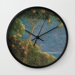 Classical masterpiece Sunset in Liguria by Geotano Previati, 1912 Wall Clock