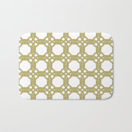 Gold & White Knotted Design Bath Mat