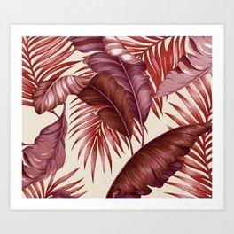 HAWAIIAN GARDEN TROPICAL LEAVES| burgundy ivory Art Print