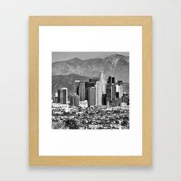 Los Angeles Skyline and Mountain Landscape - Square 1x1 Monochrome Framed Art Print