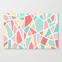 Abstract Triangle Pattern in Coral, Teal, Yellow and White Canvas Print
