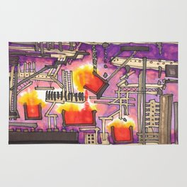 Industrial Steel Architectural Illustration Rug