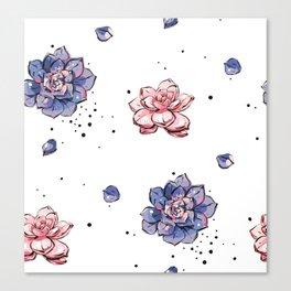 Succulents seamless pattern Canvas Print