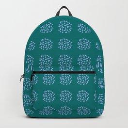 Blue Polka Dots on Dark Turquoise Backpack