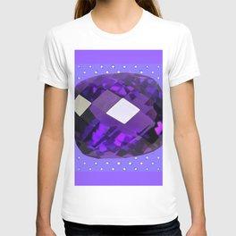 LILAC PURPLE AMETHYST FACETED GEM BIRTHSTONE ART T-shirt