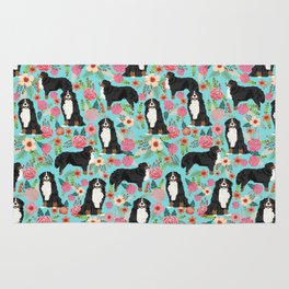 Bernese Mountain Dog pet portrait dog art illustration fur baby dog breed floral gift for dog lover Rug