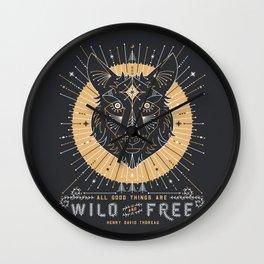 Wild & Free Wolf – Gold & Grey Wall Clock