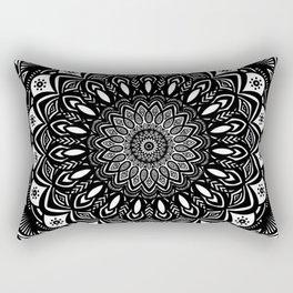 Bold Mandala Black and White Simple Minimal Minimalistic Rectangular Pillow
