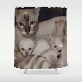 Luna the snow bengal cat with her kittens Shower Curtain