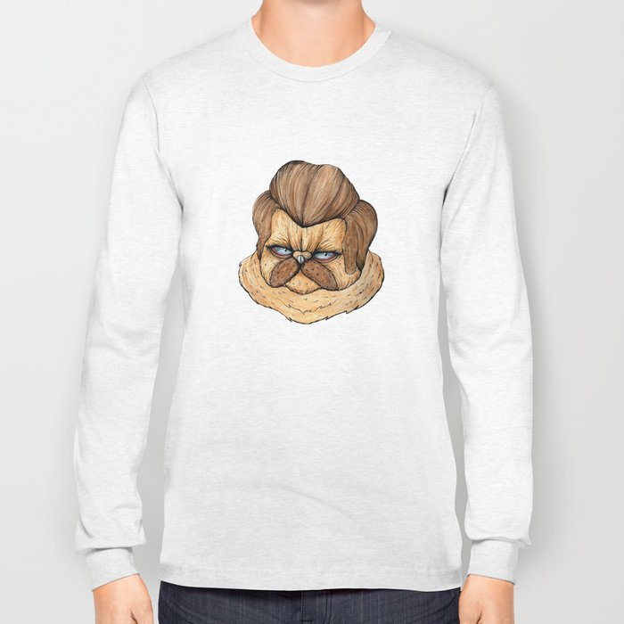 Ron Swanson Cat Long Sleeve T-shirt