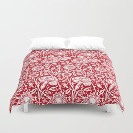 "William Morris Floral Pattern | ""Pink and Rose"" in Red and White Duvet Cover"