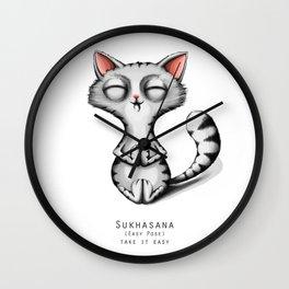 yoga cat sukhasana Wall Clock