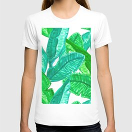 Tropical Banana Leaf Sketches in White T-shirt