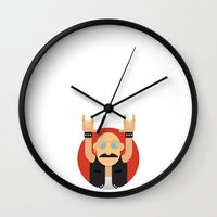 rock and roll Wall Clocks featuring Rock&Roll by Gerardo Lisanti