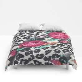 Vintage black white pink floral cheetah animal print Comforters