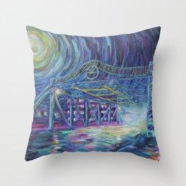 Riverside Bridge Throw Pillow