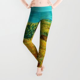 Rolling Hills of Red Poppies, Tuscany, Italy Landscape Painting Leggings