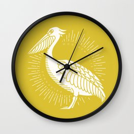 Golden Brown Pelican Wall Clock