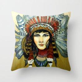Indian Spirit Girl Throw Pillow