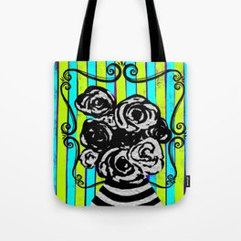 Parisienne Neons - Black & White Roses in Striped Vase Tote Bag