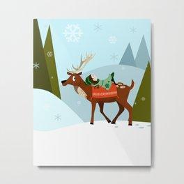 Christmas deer and elf Metal Print