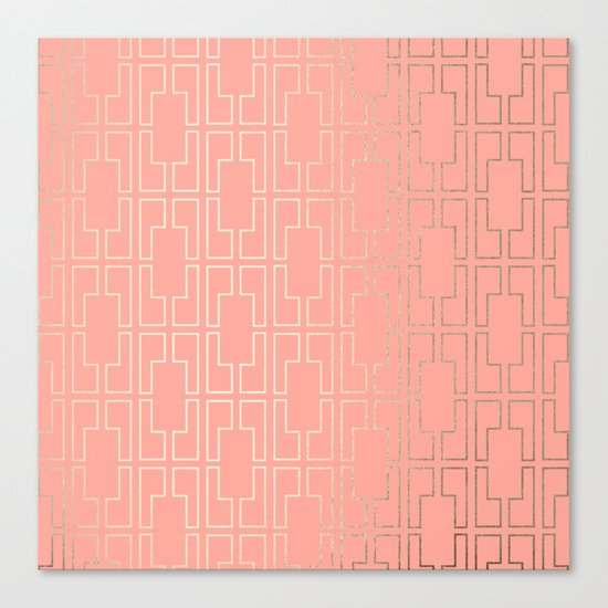 Simply Mid-Century in White Gold Sands on Salmon Pink Canvas Print