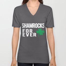 Awesome Shamrocks Forever gift for Irish Soccer or Football Teams Unisex V-Neck