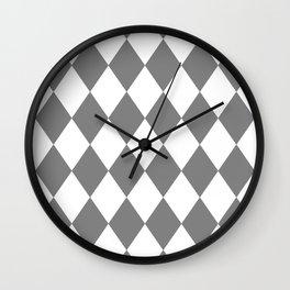 Diamonds (Gray/White) Wall Clock