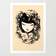 Ink Flower Girl Art Print