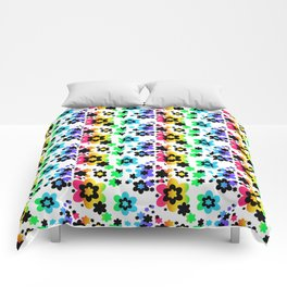 Rainbow Floral Abstract Flower Comforters