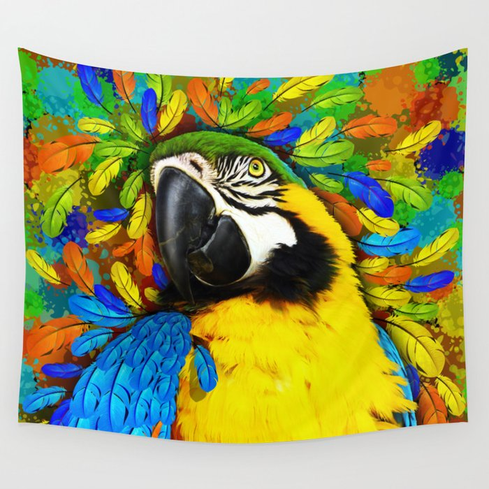 Gold and Blue Macaw Parrot Fantasy Wall Tapestry by bluedarkatlem ...