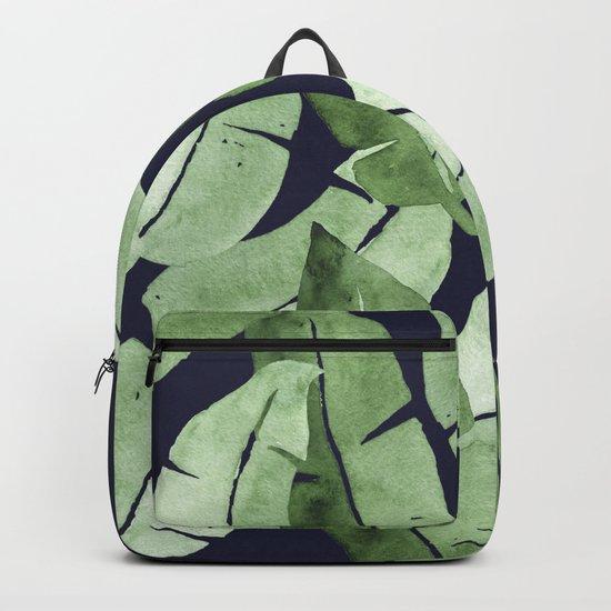 Tropical Leaves 2 Blue Backpack