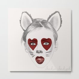 HEART-EYED CAT NINAMOJI Metal Print
