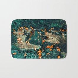Flamingo Creek #flamingo #tropical #illustration Bath Mat