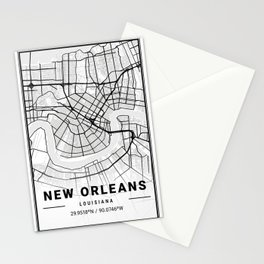 New Orleans Light City Map Stationery Cards