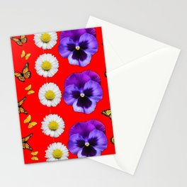 PURPLE PANSIES, WHITE DAISIES, MONARCH BUTTERFLIES RED ART Stationery Cards