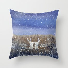 Hares and the Crescent Moon Throw Pillow